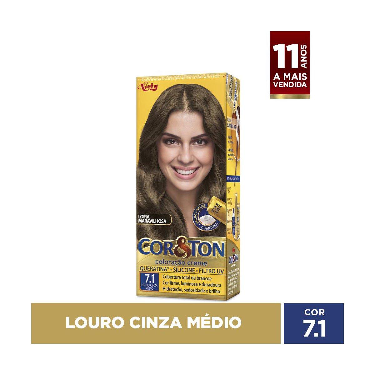 Niely Coloração Cor&Ton 7.1 Louro Cinza Médio 180g