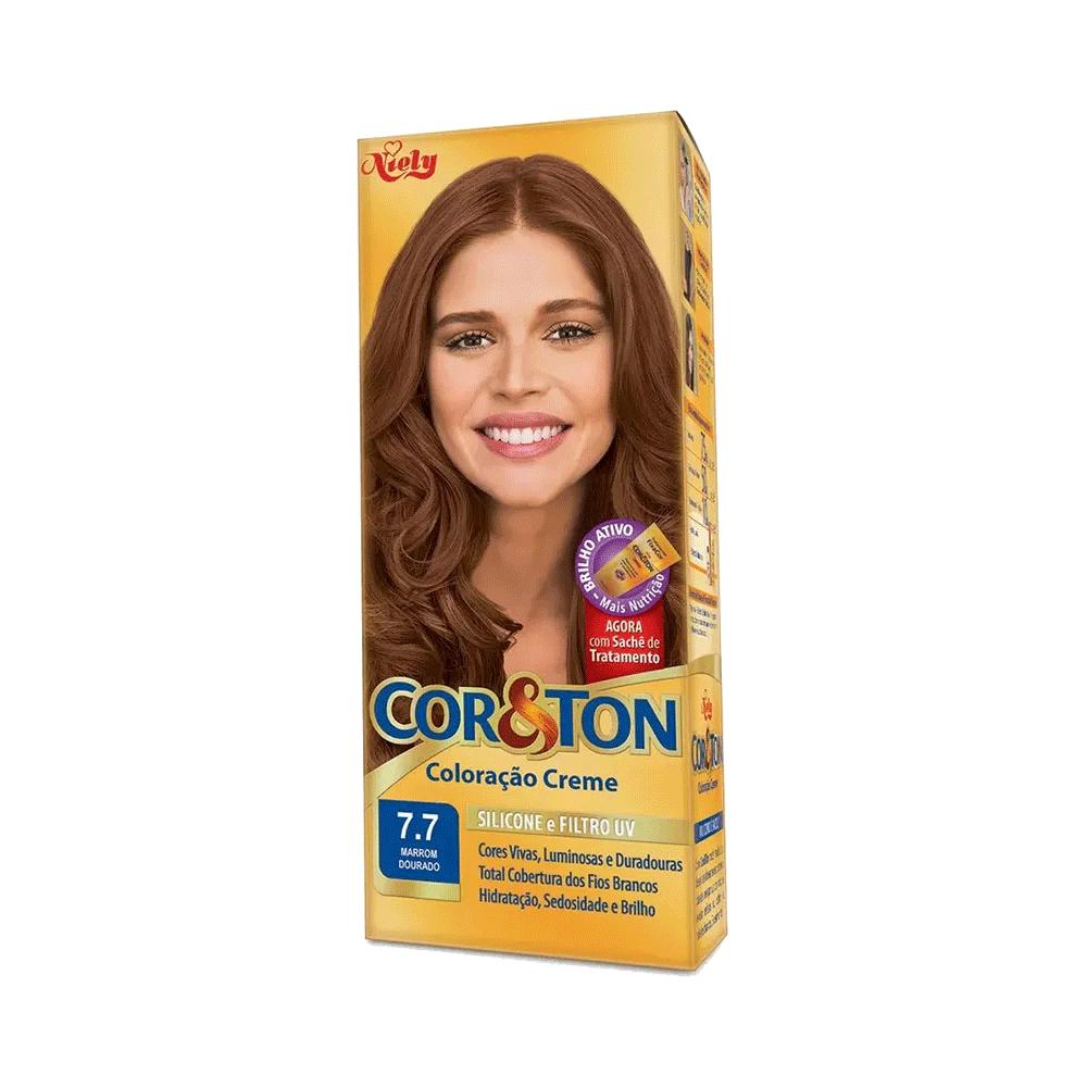 Niely Coloração Cor&Ton 7.7 Marrom Dourado 180g