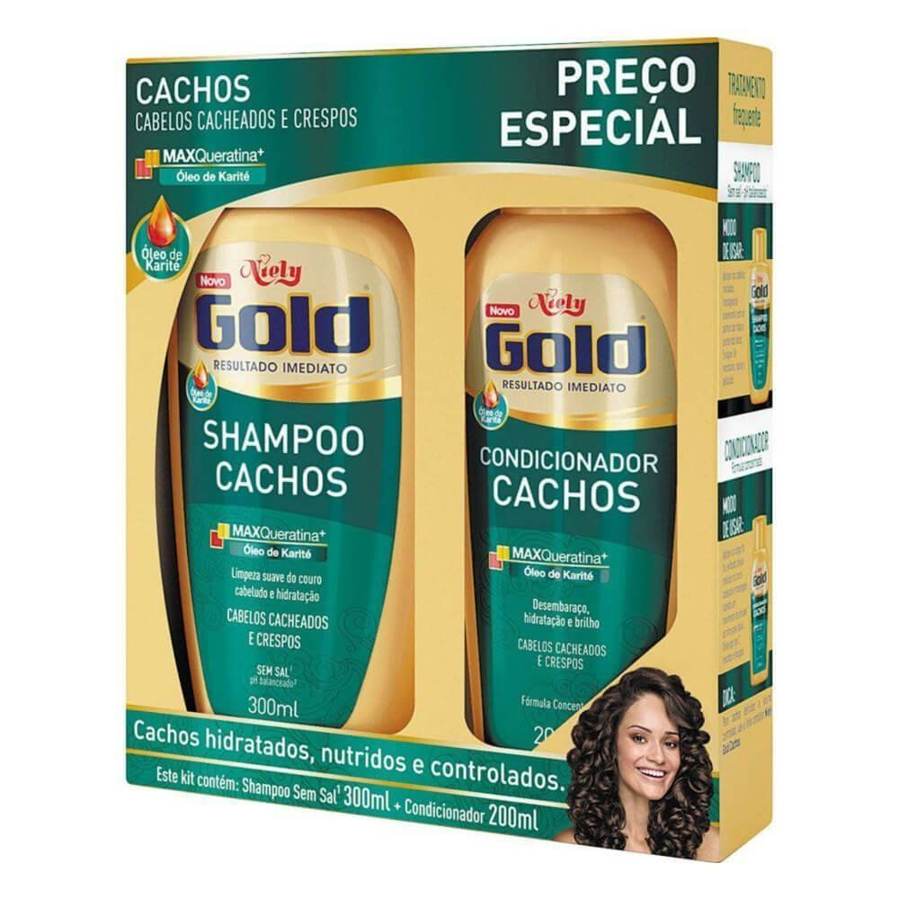 Niely Gold Kit Shampoo + Condicionador Cachos 300+200mL
