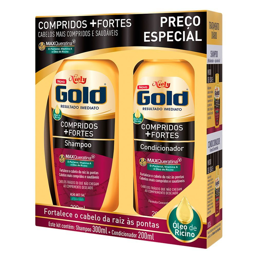Niely Gold Kit Shampoo + Condicionador Compridos+Fortes 300+200mL