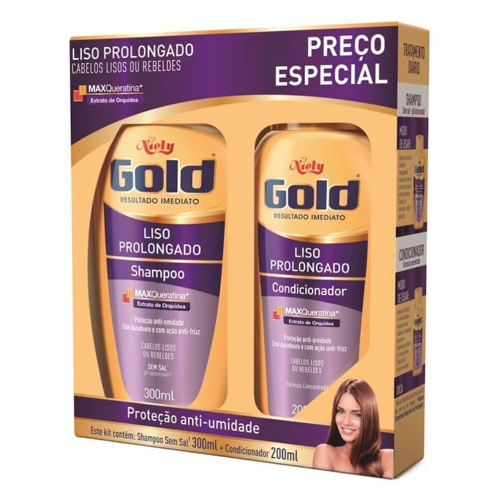 Niely Gold Kit Shampoo + Condicionador Liso Prolongado 300+200mL