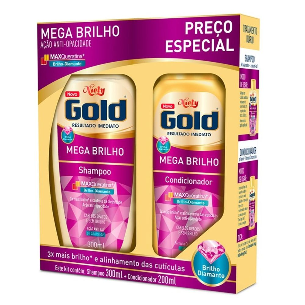 Niely Gold Kit Shampoo + Condicionador Mega Brilho 300+200mL