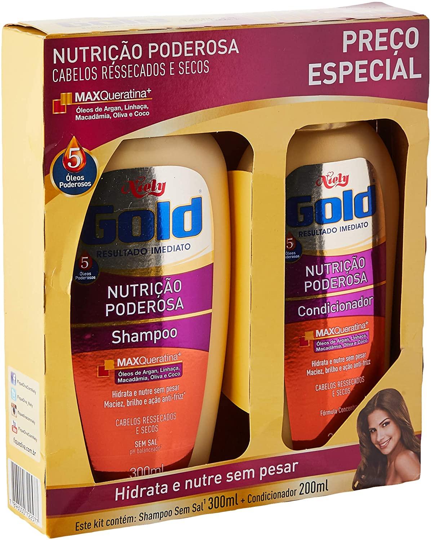 Niely Gold Kit Shampoo + Condicionador Nutrição Poderosa 300+200mL