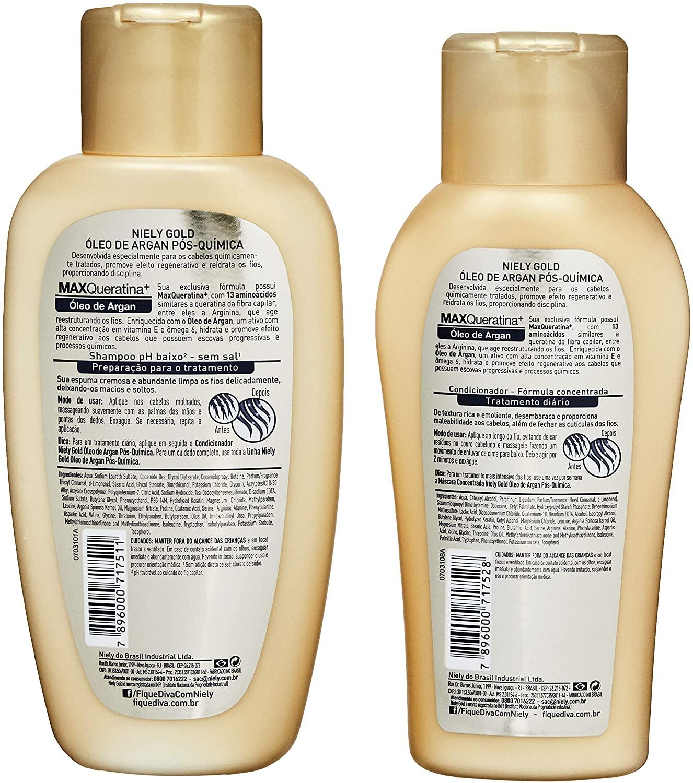 Niely Gold Kit Shampoo + Condicionador Óleo de Argan Pós-Química 300+200mL