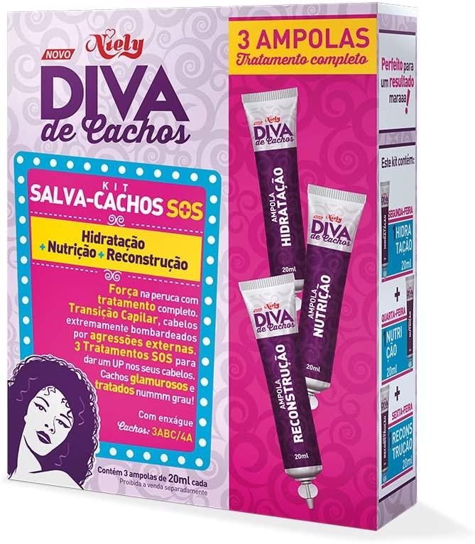Niely Kit 3 Ampolas Diva de Cachos Salva-cachos SOS Hidratação+Nutrição+Reconstrução 20+20+20mL