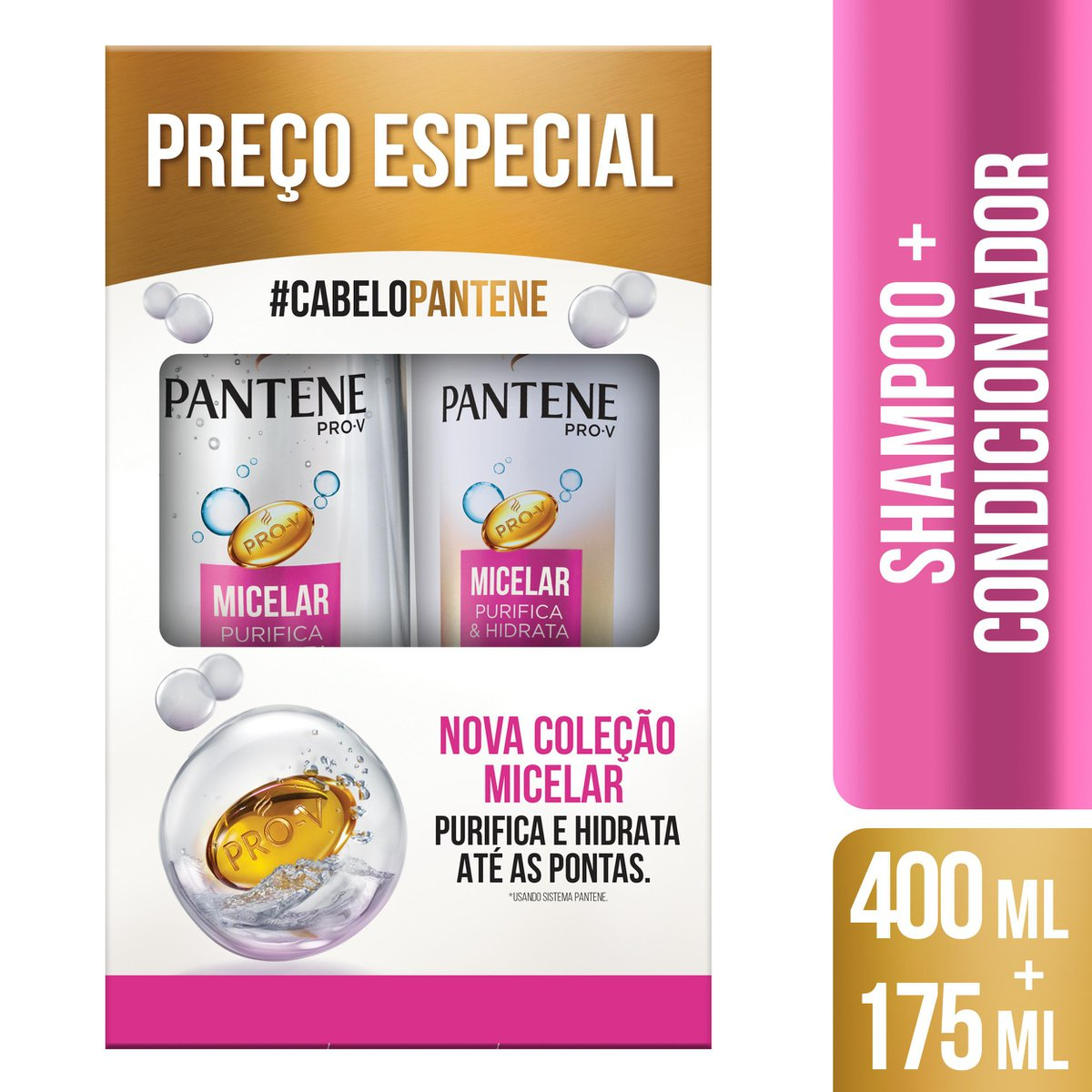 Pantene Kit Micelar Shampoo 400mL + Condicionador 175mL