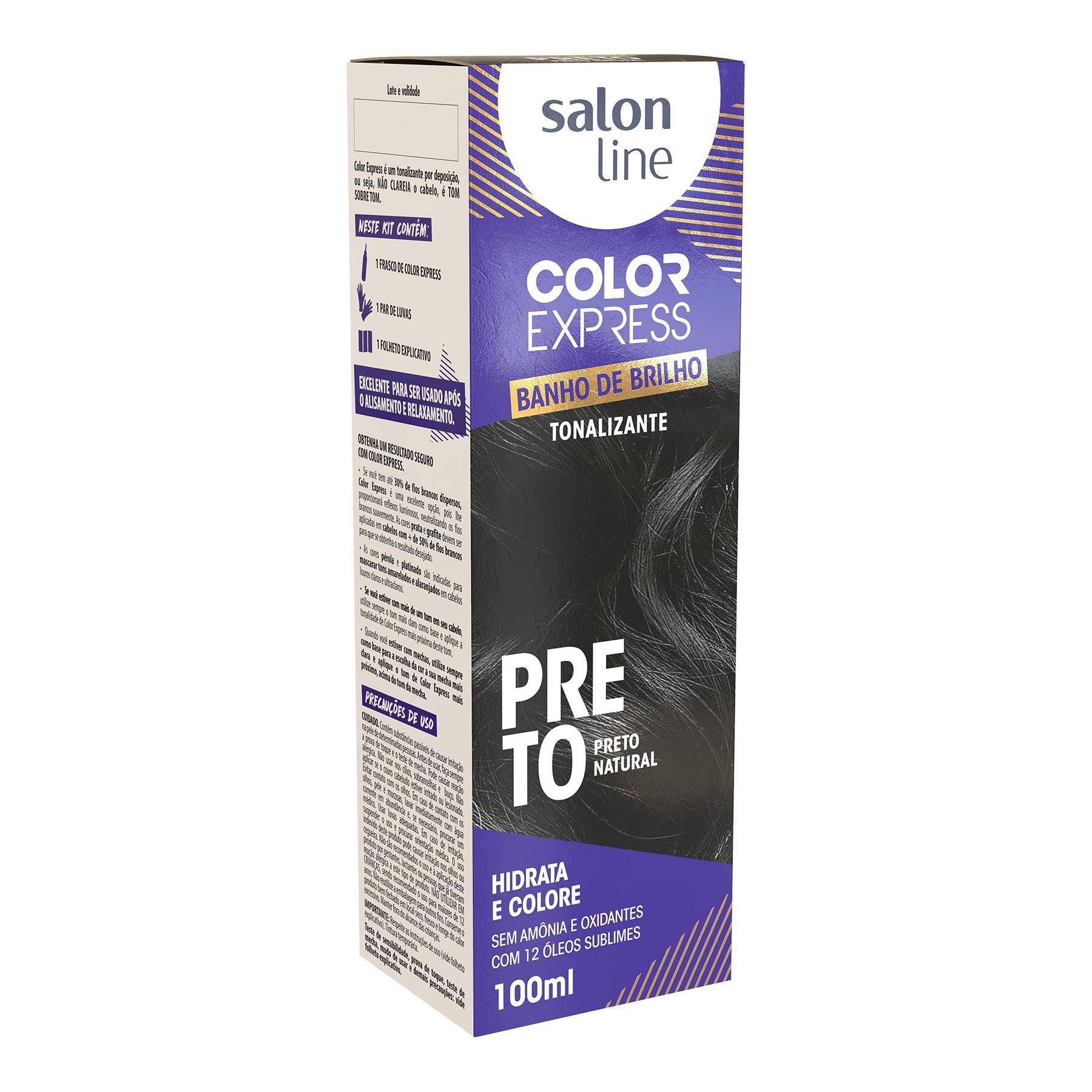 Salon Line Banho de Brilho Color Express Preto Natural 100mL
