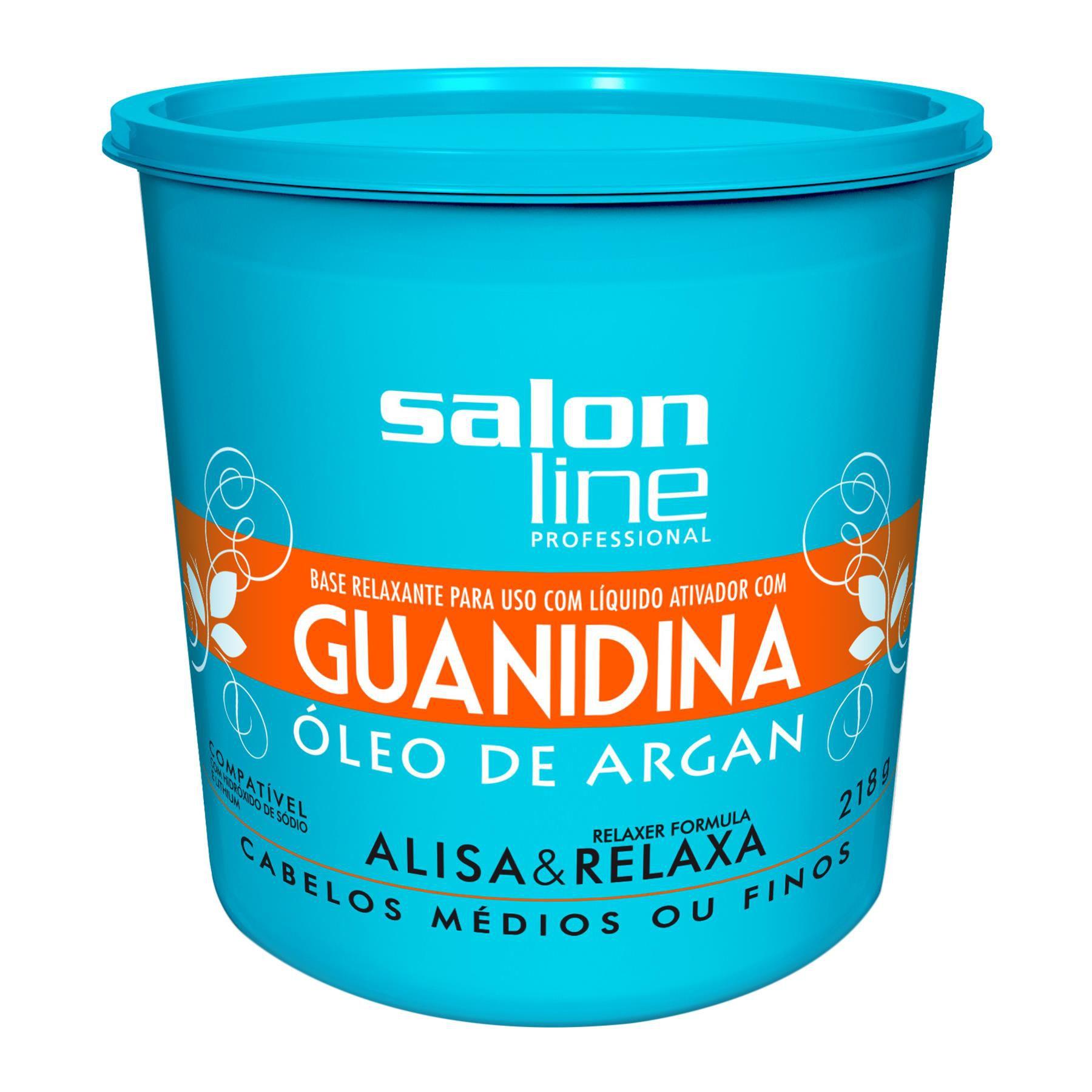Salon Line Base Relaxante de Guanidina com Óleo de Argan para Cabelos Médios ou Finos 218g