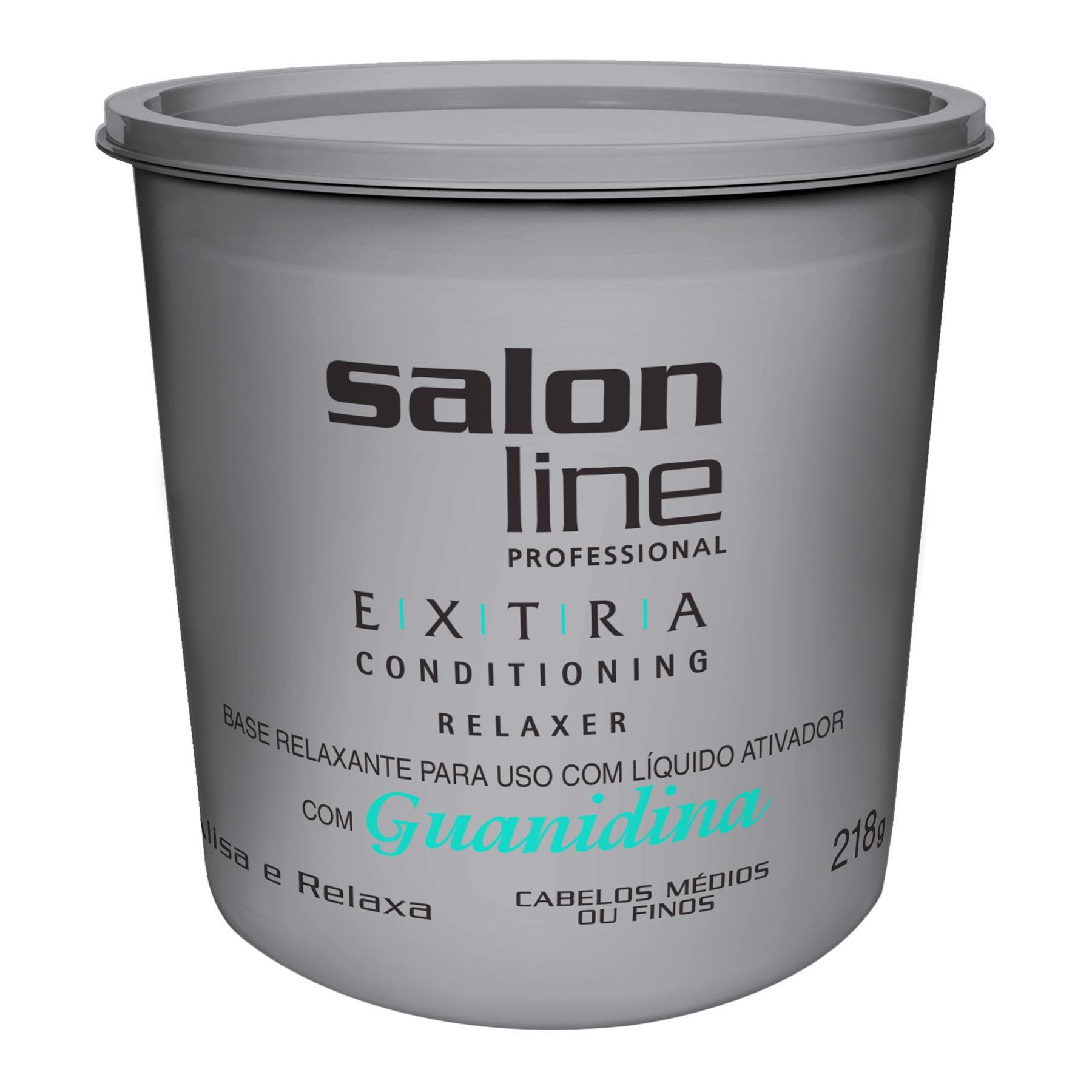 Salon Line Base Relaxante Extra Conditioning Guanidina para Cabelos Médios ou Finos  218g