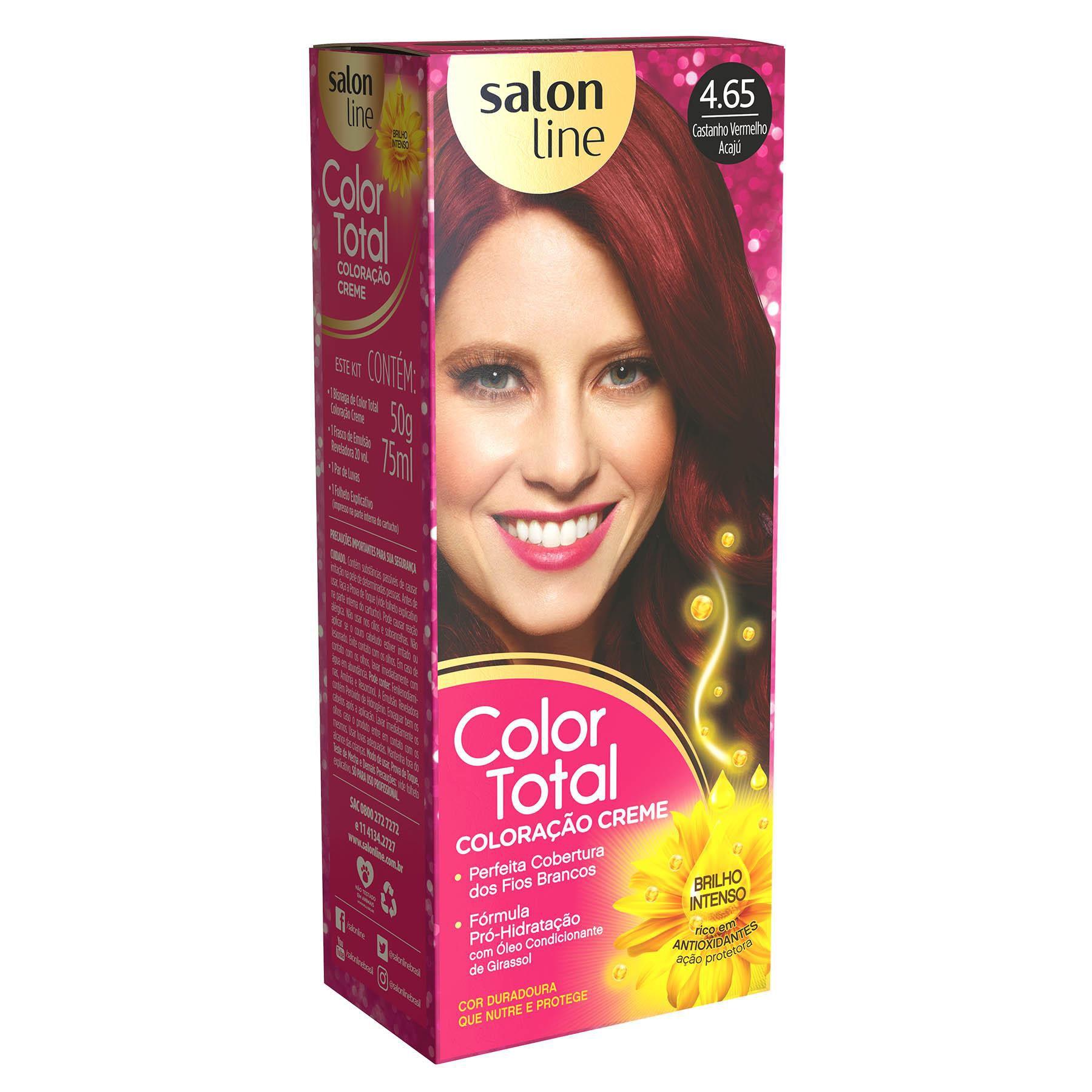 Salon Line Coloração Color Total 4.65 Castanho Vermelho Acaju