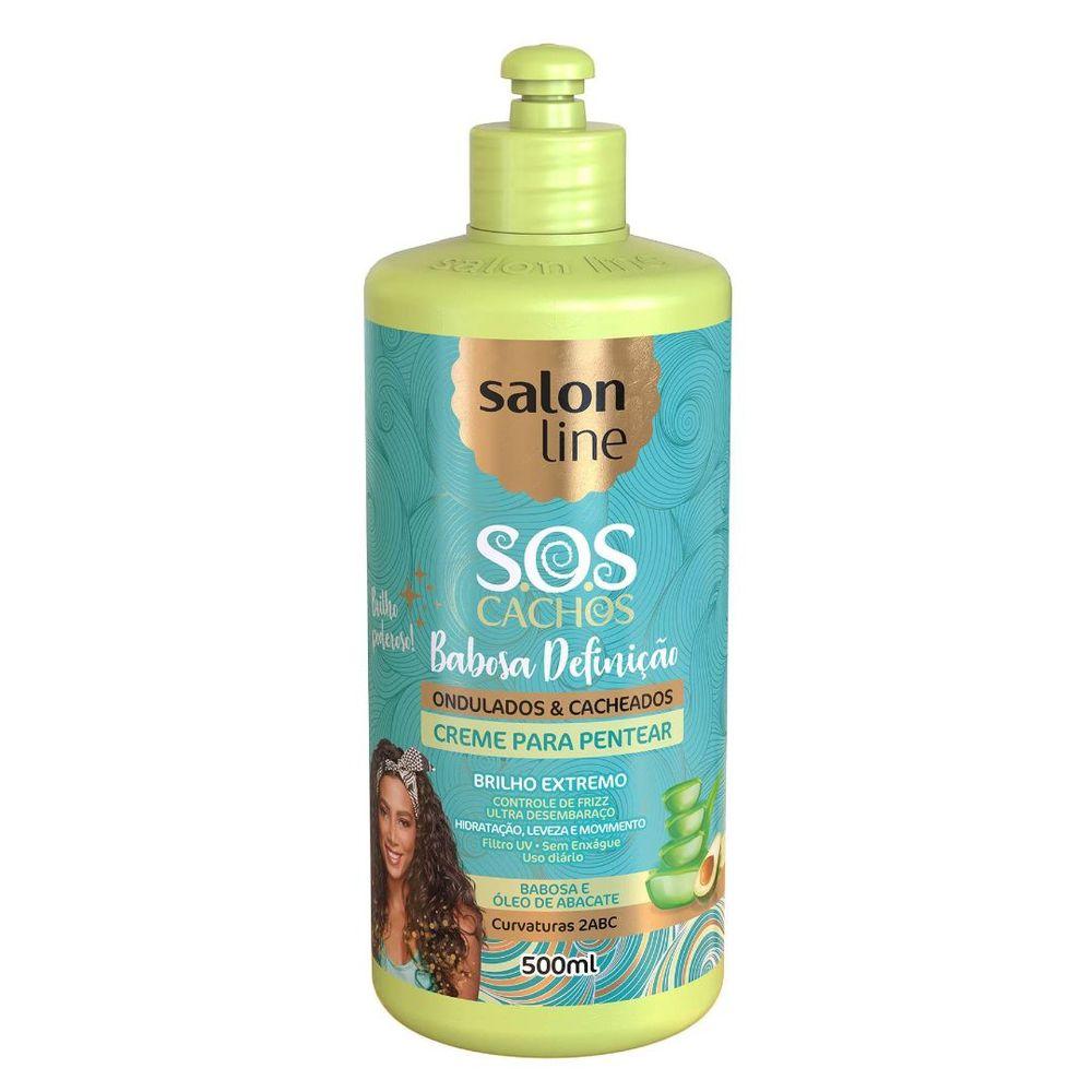 Salon Line Creme para Pentear S.O.S Cachos Babosa Definição Ondulados e Cacheados 500ml
