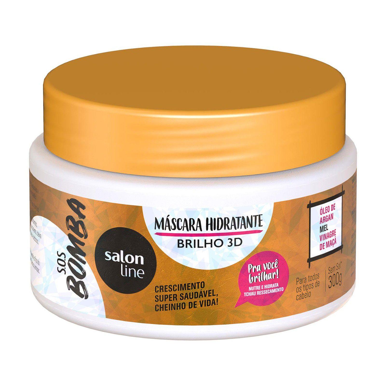 Salon Line Máscara S.O.S Bomba Hidratante Brilho 3D 300g
