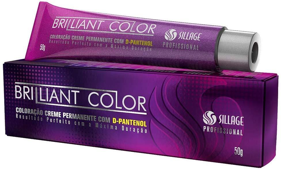 Sillage Coloração Brilliant Color 5.71 Castanho Claro Marrom Acinzentado Café 50g - GRÁTIS ÁGUA OXIGENADA