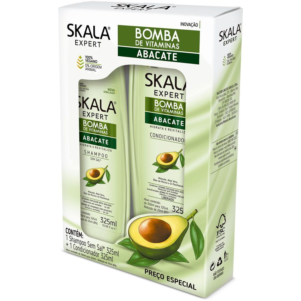 Skala Kit Shampoo+Condicionador Expert Abacate 325+325mL