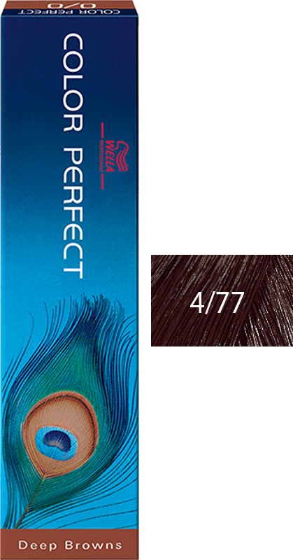 Wella Professional Coloração Permanente Color Perfect 4/77 Castanho Médio 60g