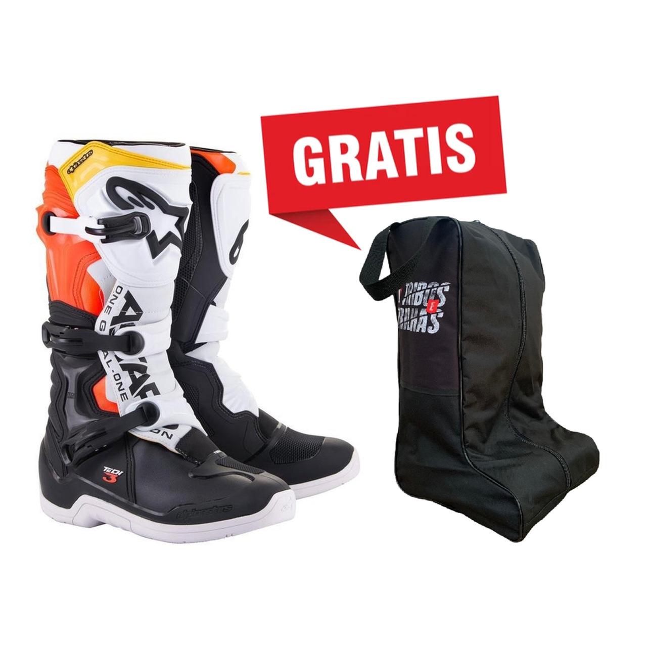 Bota Alpinestars Tech 3 - Preto/Branco/Laranja