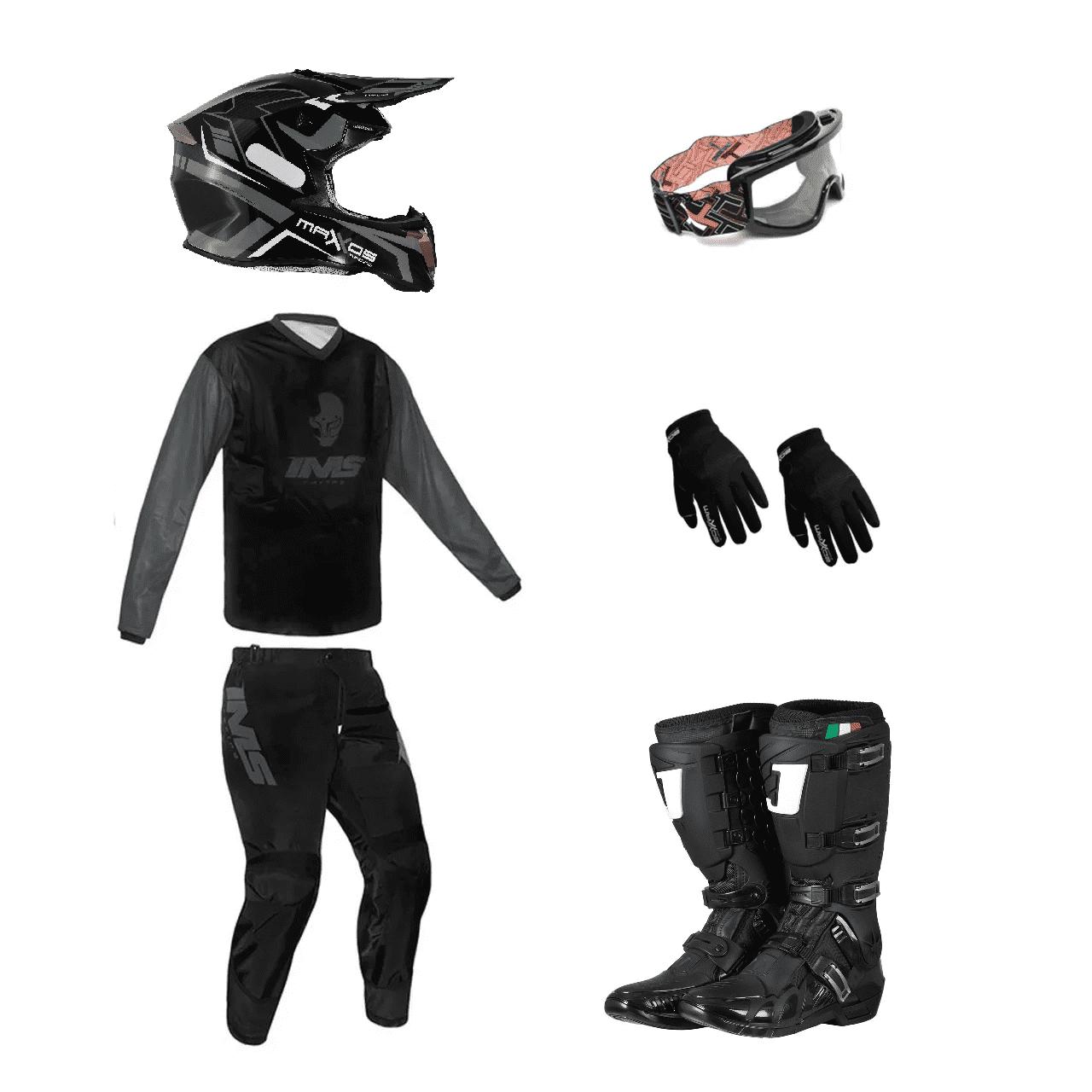 Kit Equipamento Trilha Motocross Enduro Basic 1- Preto