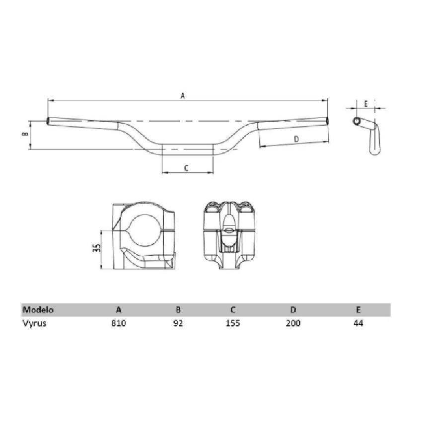 Guidão + Adaptador Vyrus Fat Bar 28mm Alto