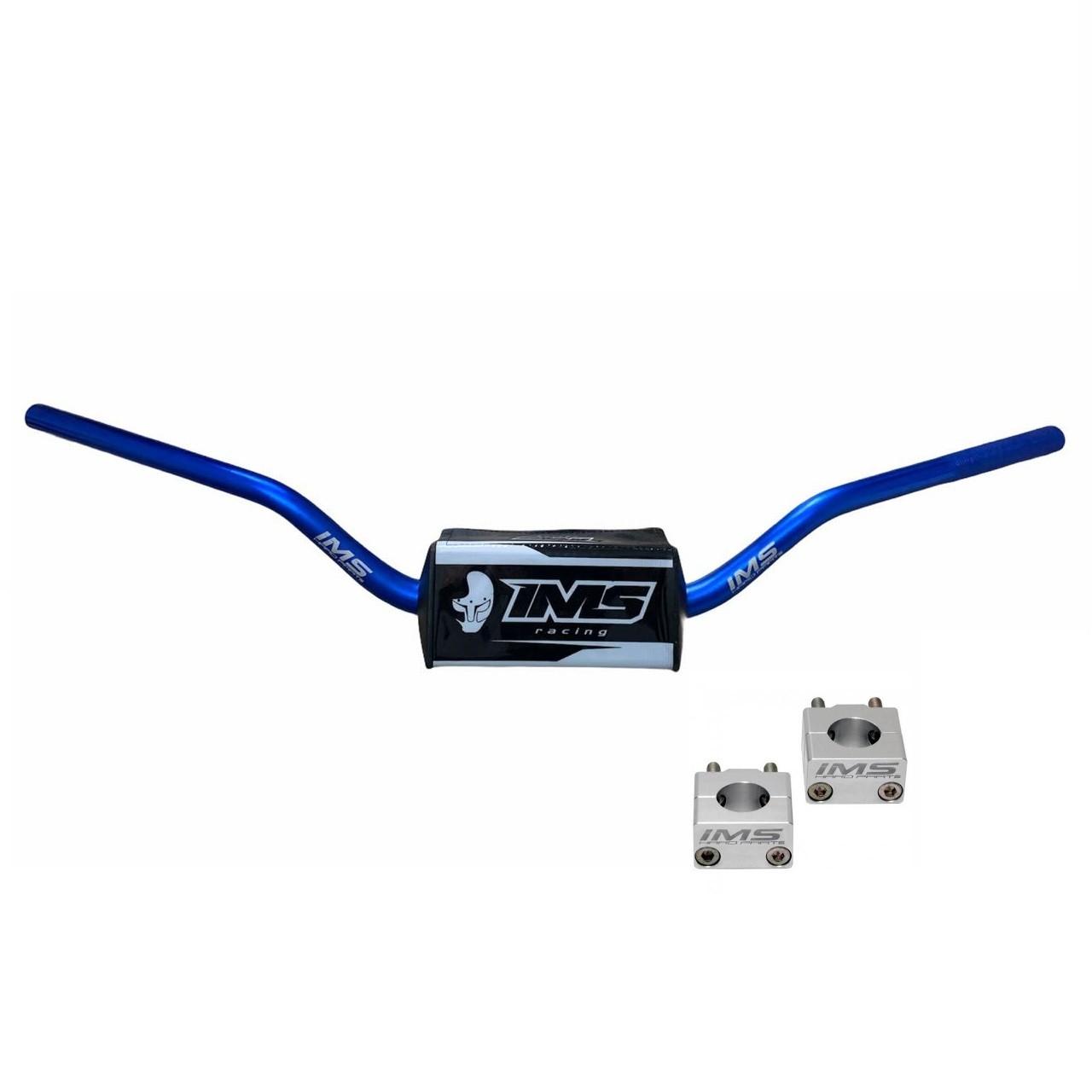 Guidão IMS Fatbar Light 28mm Alto + Adaptador - Azul