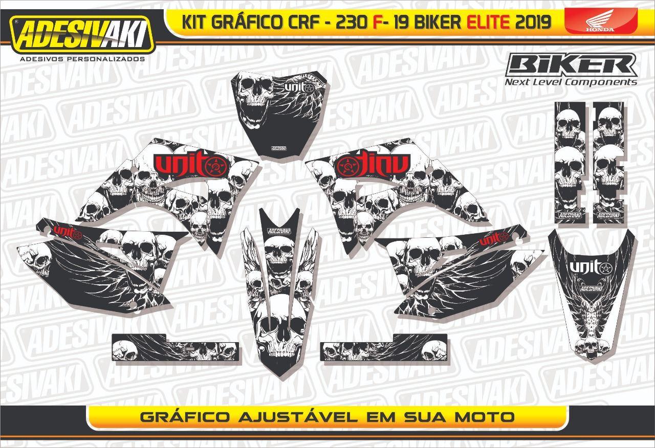 Kit Adesivos Gráficos CRF 230 F-19 Skull Biker Elite 2019