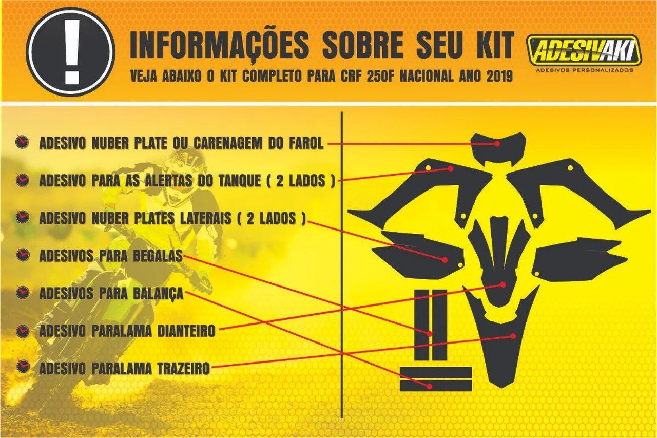 Kit Adesivos Gráficos CRF 250 F Dark Flag