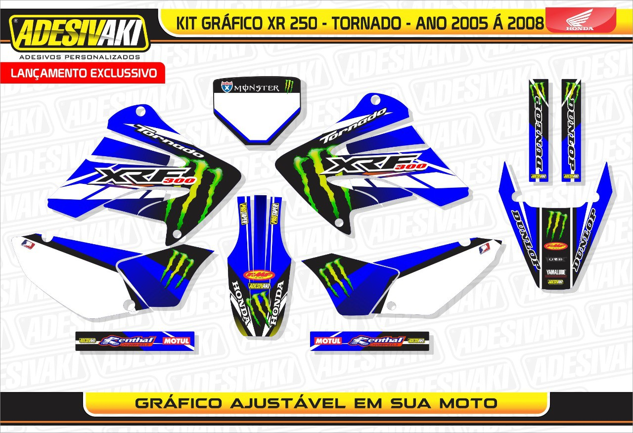 Kit Adesivos Gráficos Tornado Monster Blue 0,60mm