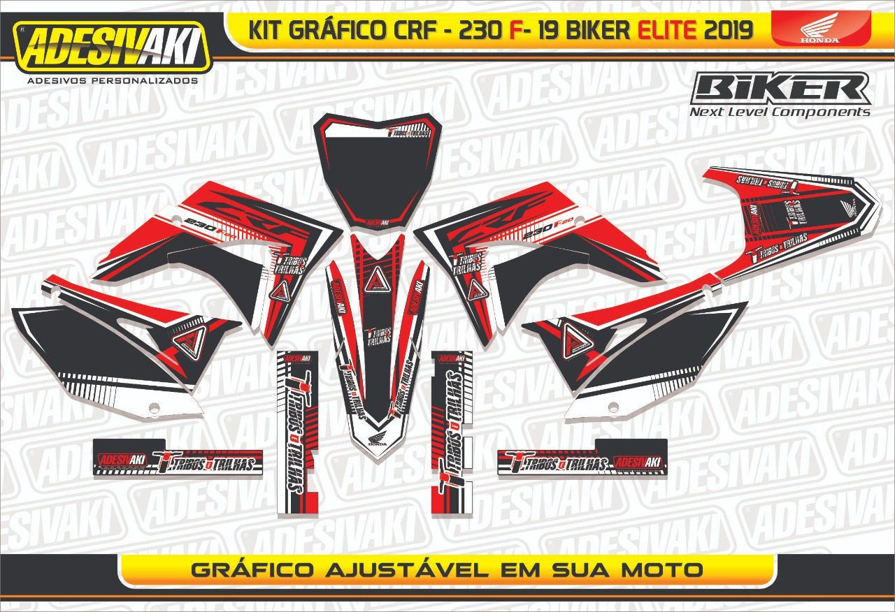 Kit Adesivos Gráficos Tribos e Trilhas CRF 230 F-19 Biker Elite 2019