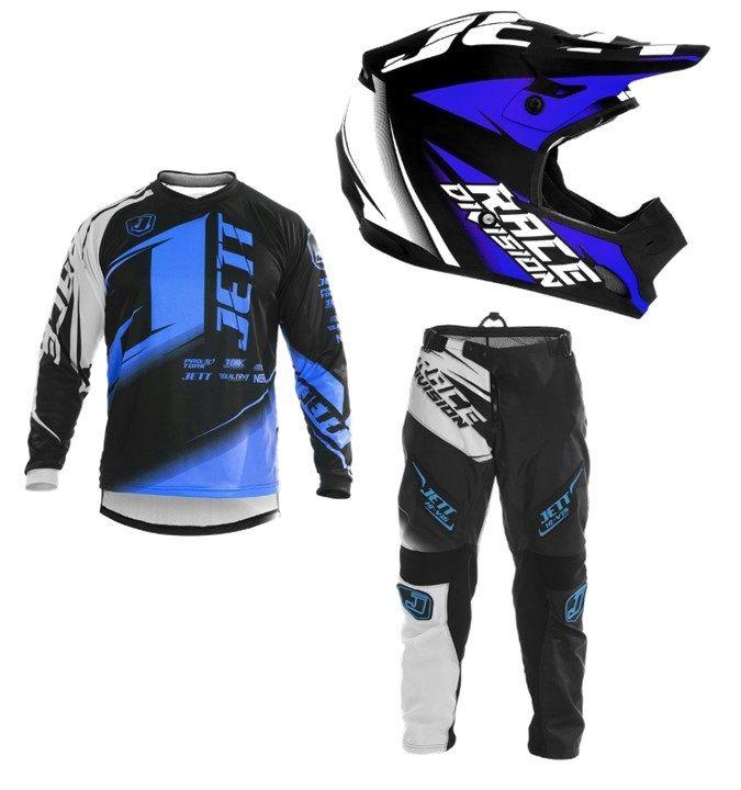 Kit Calça, Camisa e Capacete Motocross Jett Factory Edition Neon