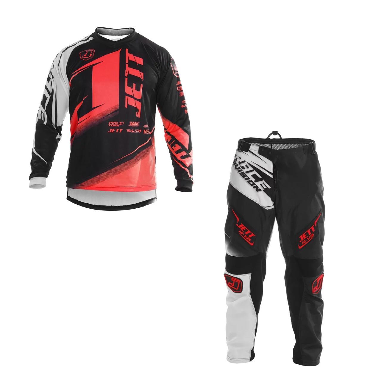Kit Calça + Camisa  Infantil Jett Factory Edition Neon Motocross Trilha