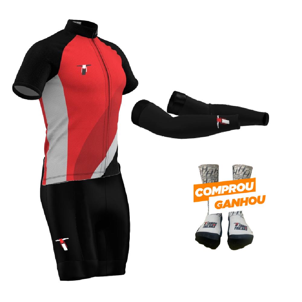 Kit Conjunto Roupa Bike Tribos e Trilhas Red