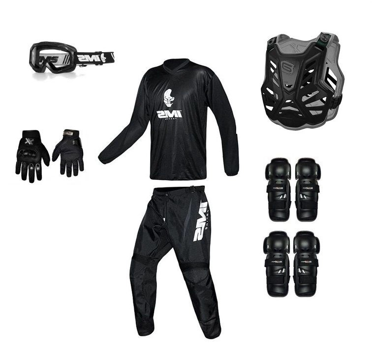 Kit Equipamento Trilha Motocross All Black