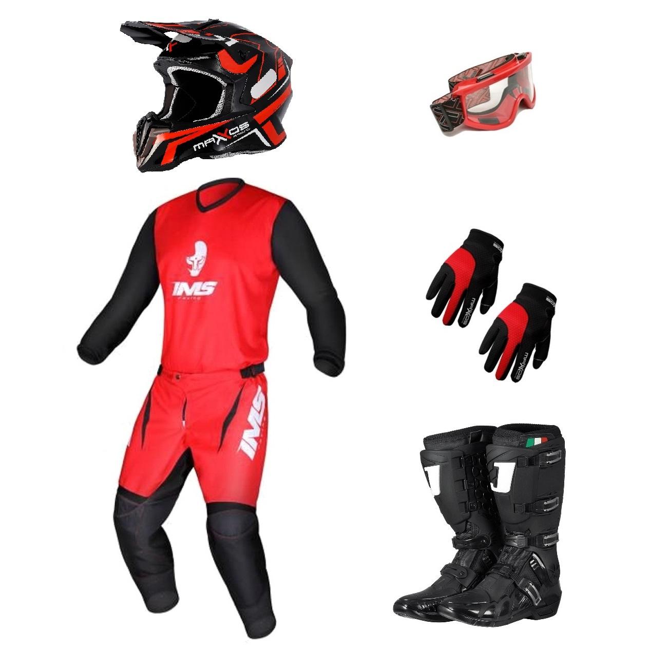 Kit Equipamento Trilha Motocross Enduro Basic 1 - Vermelho