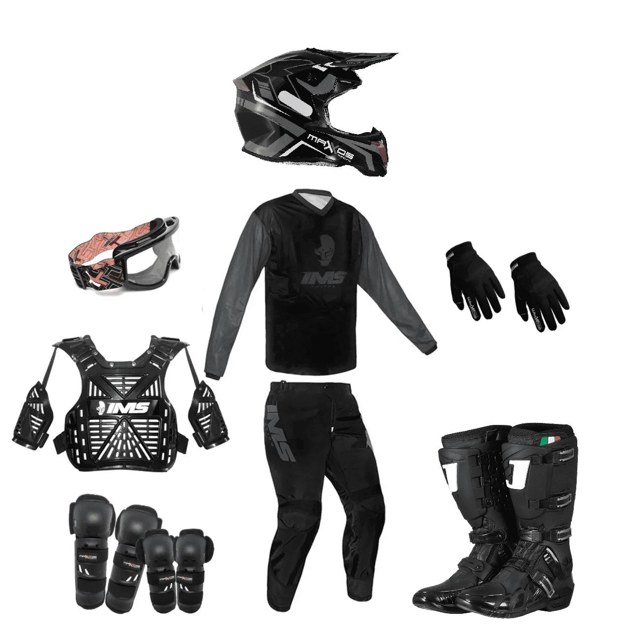 Kit Equipamento Trilha Motocross Enduro Basic 2 - Preto