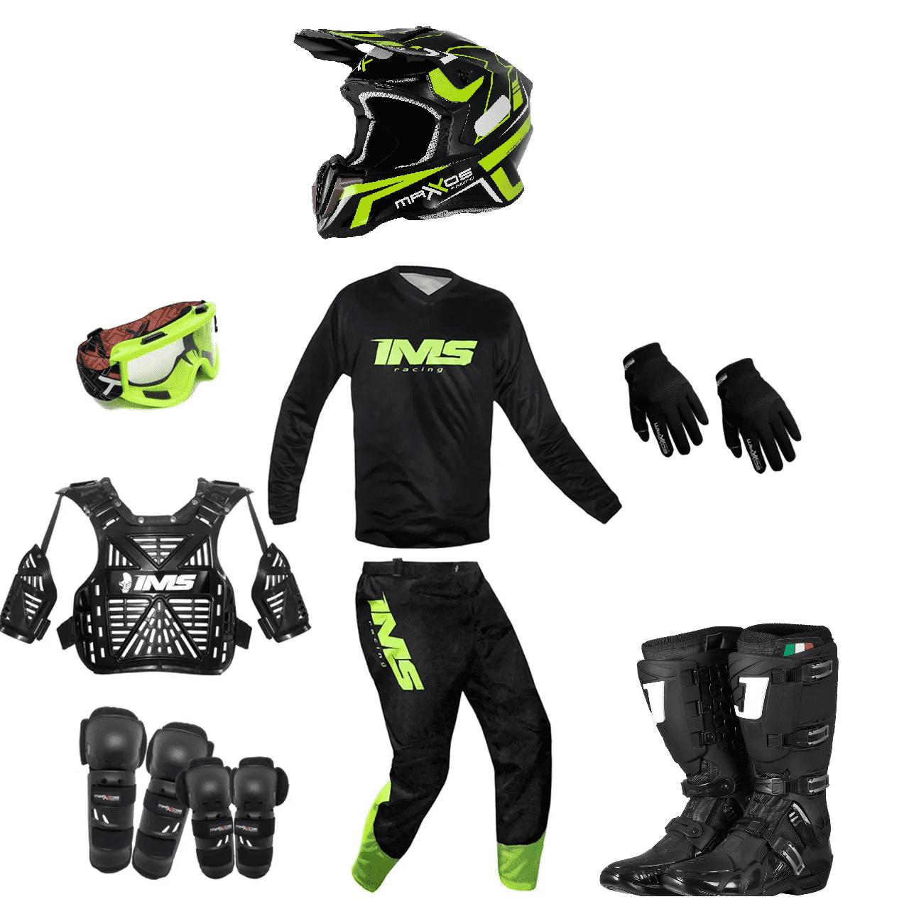 Kit Equipamento Trilha Motocross Enduro Basic 2 - Preto/Fluor