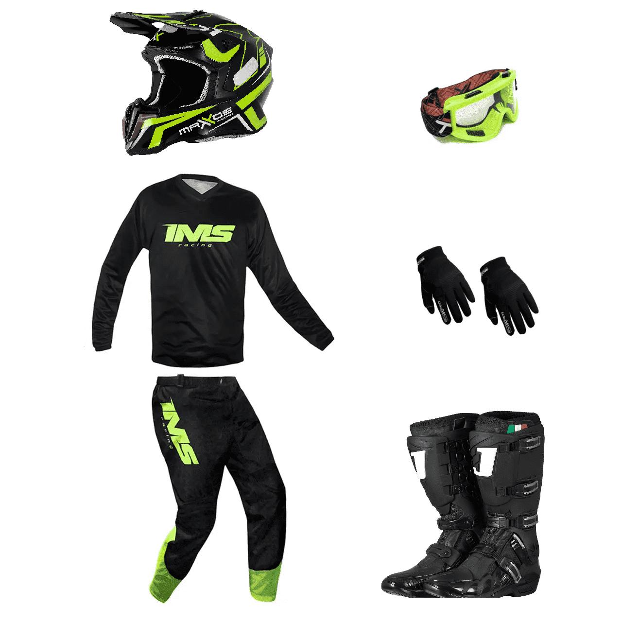 Kit Equipamento Trilha Motocross Enduro Basic 1 - Preto/Fluor