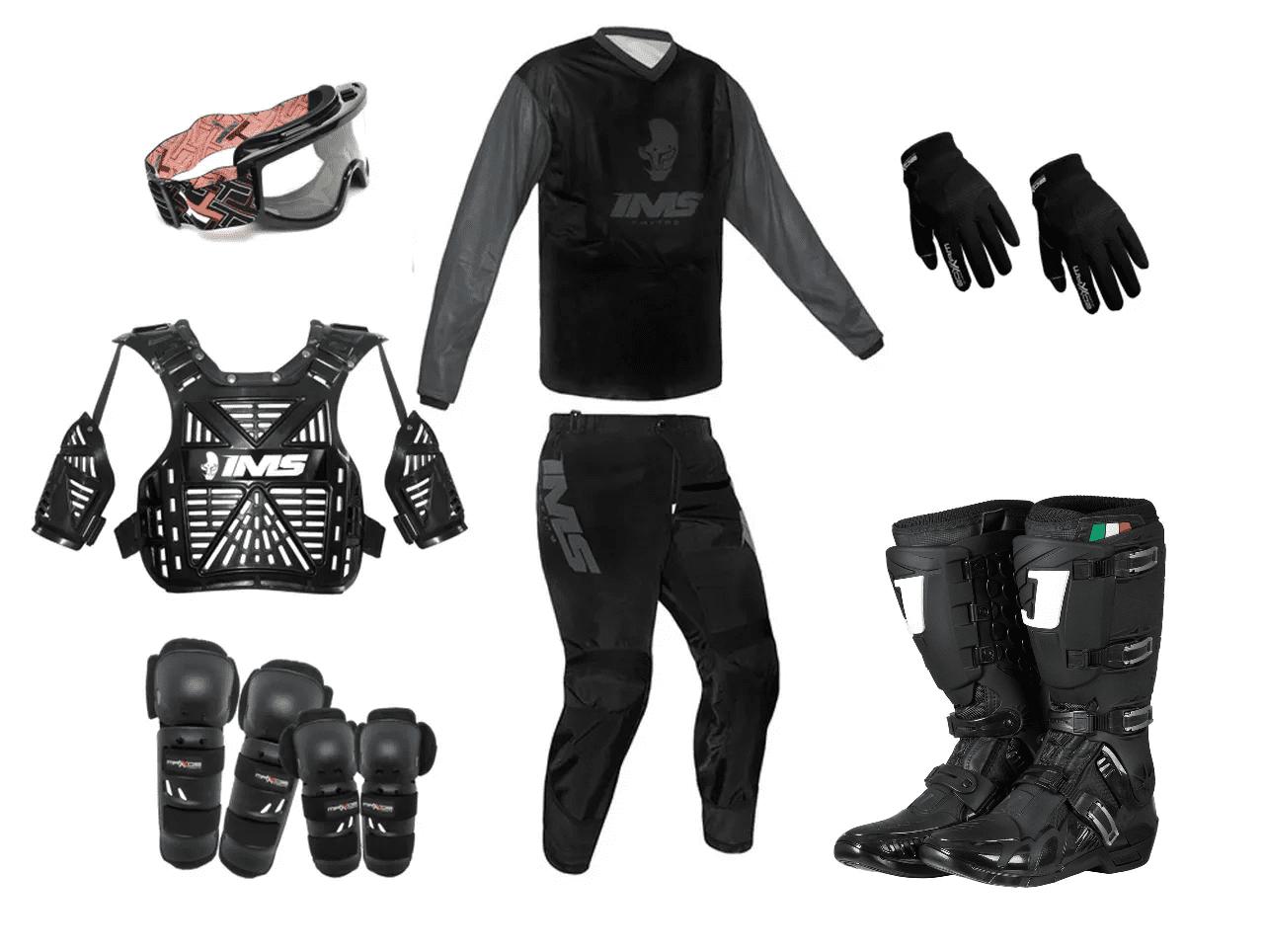 Kit Equipamento Trilha Motocross Enduro Basic - Preto