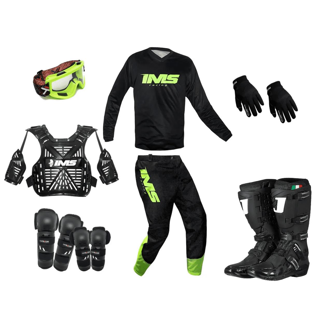 Kit Equipamento Trilha Motocross Enduro Basic - Preto/Fluor