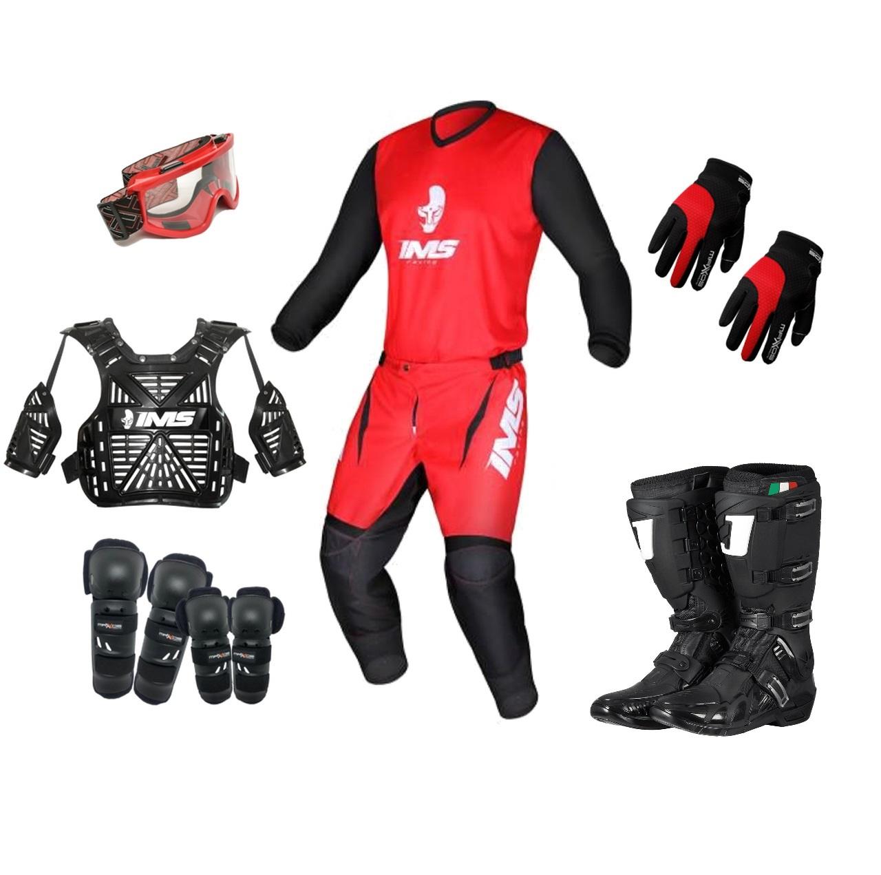 Kit Equipamento Trilha Motocross Enduro Basic - Vermelho