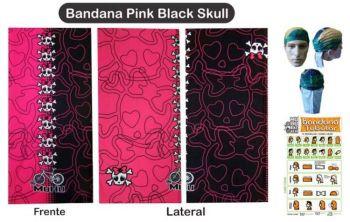 BANDANA MUHU PINK BLACK SKULL