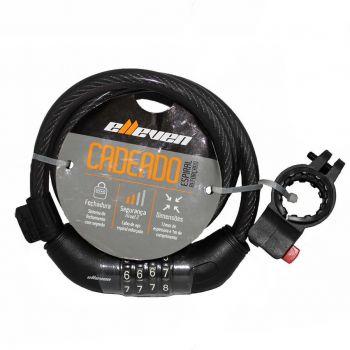 CADEADO ESPIRAL ELLEVEN 1MX12MM COM SEGREDO GROSSO 4 DIGITOS PRETO COM SUPORTE