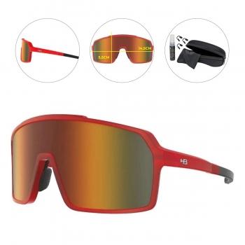 Oculos para Ciclismo HB Grinder Vermelho Escuro Fosco Lente Laranja Chrome Espelhada