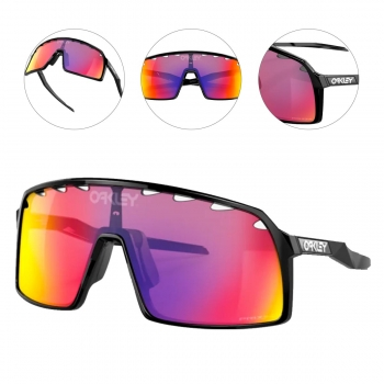 Oculos Para Ciclismo Oakley Sutro MF Preto com Lente Prizm Road Espelhada Roxa