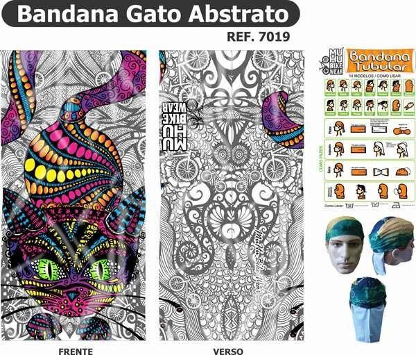 BANDANA MUHU GATO ABSTRATO