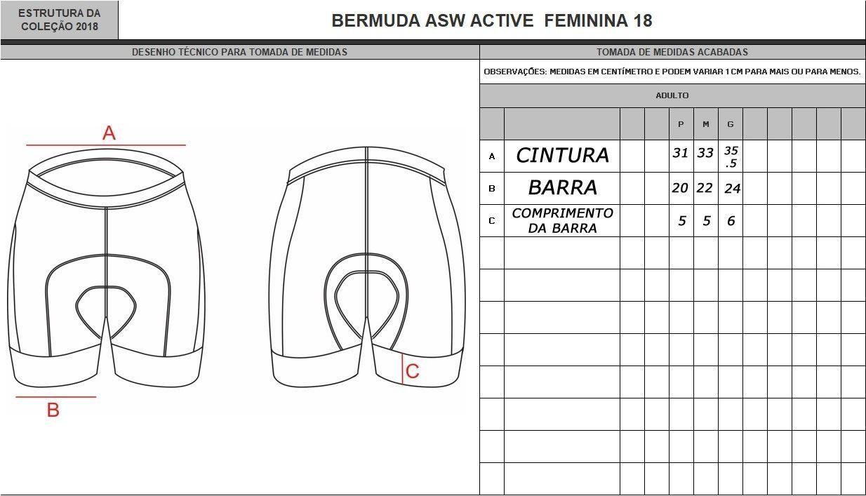 BERMUDA ASW FEMININA ACTIVE QUEEN PRETA E SALMAO 18