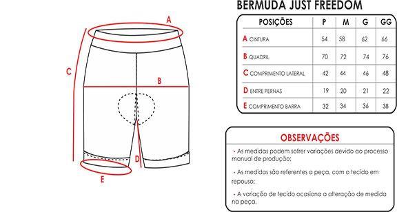 BERMUDA MAURO RIBEIRO FEMININA JUST FREEDOM PRETA