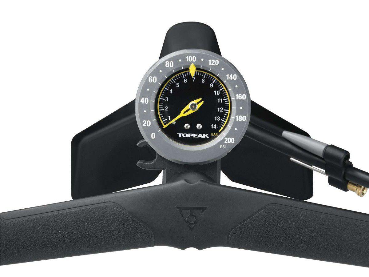 BOMBA DE AR TOPEAK JOEBLOW RACE DE PE MAX HP PRETA 200 PSI