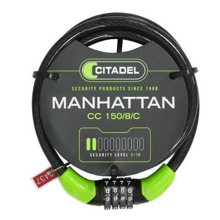 CADEADO ESPIRAL CITADEL COM SEGREGO MANHATTAN CC 150/8/C CABO 8MMx150CM