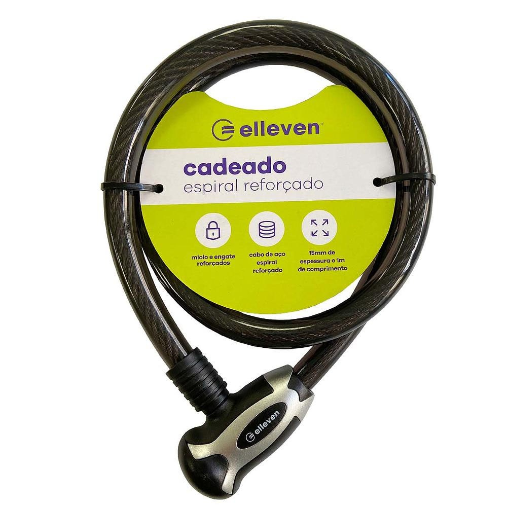 CADEADO ESPIRAL ELLEVEN 1MX15MM COM CHAVE PRETO E CINZA