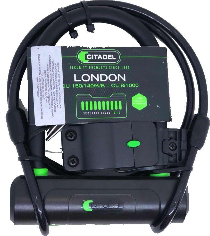 CADEADO TRAVA U-LOCK CITADEL LONDON CU 150/140/K/B CHAVE + CABO 8MMx100CM