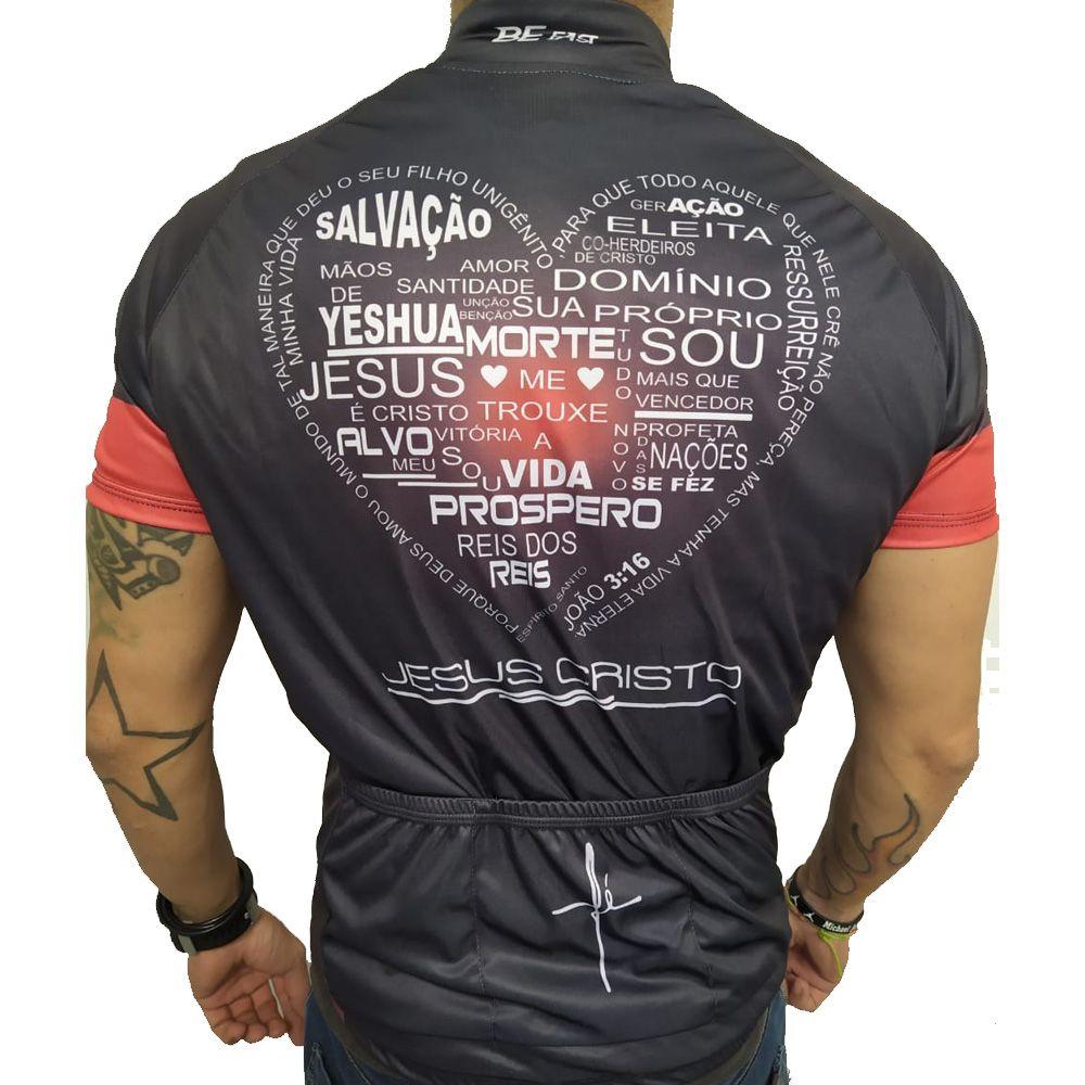 CAMISA CICLISMO BIKE RUNNERS FE PRETA JESUS CRISTO PREMIUM AGILE